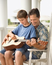boy dad guitar Connect with Your Child but Don't Overdo it