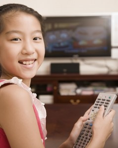 girl watching tv 238x300 TV and Video Game Time Associated with Psychological Problems