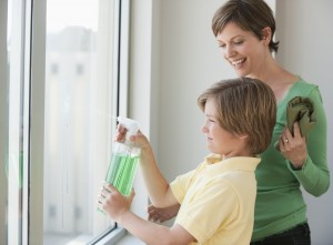 mom boy window cleaning 300x221 Offer Rewards and Get your Kids to Tidy Up