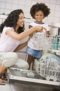 mom girl dish washer2 199x300 Offer Rewards and Get your Kids to Tidy Up