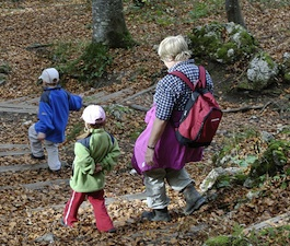 family hiking woods fall Take a Hike   Family Friendly Walking Tips