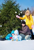 family snow christmas tree Smart Ways to Stay Safe This Holiday Season
